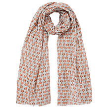 Buy Collection WEEKEND by John Lewis Fox Head Print Wool Mix Scarf, Grey/Orange Online at johnlewis.com