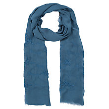 Buy John Lewis Floral Embroidered Scarf, Teal Online at johnlewis.com