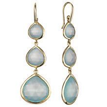 Buy John Lewis Aqua Chalcedony 18ct Gold Plated Triple Drop Earrings Online at johnlewis.com