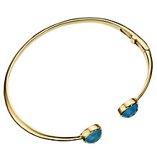 Buy John Lewis Blue Chalcedony 18ct Gold Plated Hinged Bangle Online at johnlewis.com