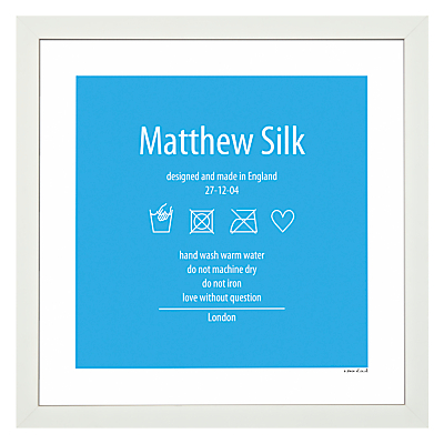 A Piece Of Personalised Washing Instruction Framed Poster Print, White Frame, 30 x 30cm