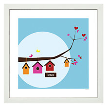 Buy A Piece of Personalised Birdhouse Family Framed Poster Print, White Frame, 30 x 30cm Online at johnlewis.com