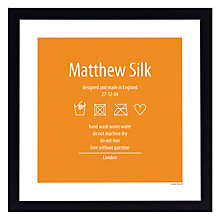 Buy A Piece Of Personalised Washing Instruction Framed Poster Print, Black Frame, 30 x 30cm Online at johnlewis.com