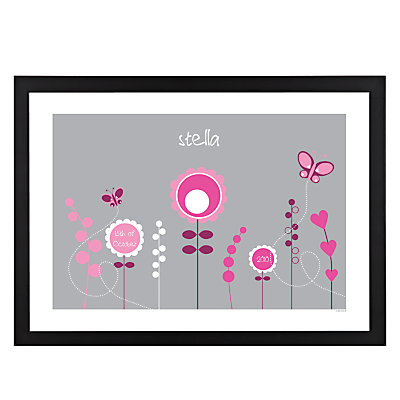 A Piece OF Personalised Flowers Framed Poster Print , Black Frame, 29.7 x 42cm