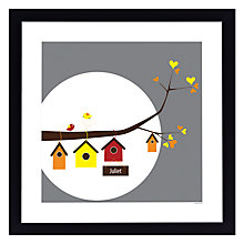 Buy A Piece of Personalised Birdhouse Family Framed Poster Print, Black Frame, 30 x 30cm Online at johnlewis.com