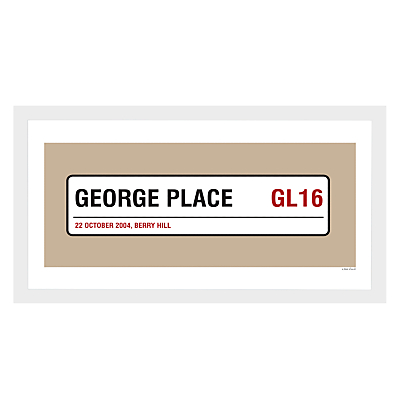 A Piece Of Personalised Street & Borough Framed Poster Print, White Frame, 25.4 x 50.8cm