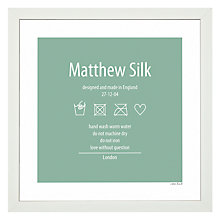 Buy A Piece Of Personalised Washing Instruction Framed Poster Print, White Frame, 30 x 30cm Online at johnlewis.com