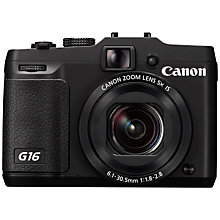"Buy Canon PowerShot G16 Digital Camera, HD 1080p, 12.1MP, 5x Optical Zoom, Wi-Fi, GPS, 3"" Screen with Memory Card Online at johnlewis.com"
