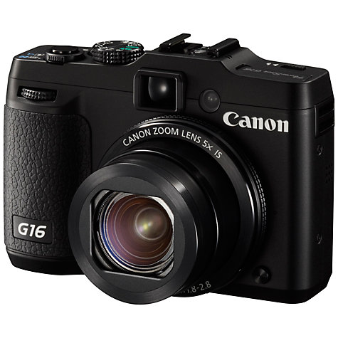 "Buy Canon PowerShot G16 Digital Camera, HD 1080p, 12.1MP, 5x Optical Zoom, Wi-Fi, GPS, 3"" Screen Online at johnlewis.com"