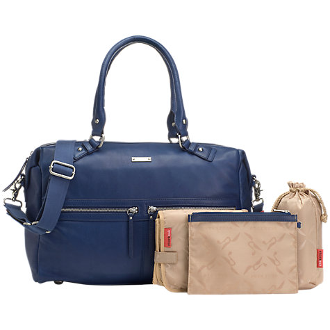 Buy Storksak Caroline Leather Changing Bag, Blue Online at johnlewis ...