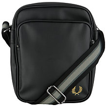 Buy Fred Perry Textured Flight Bag, Black Online at johnlewis.com