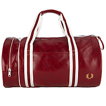 Buy Fred Perry PVC Barrel Bag, Burgundy Online at johnlewis.com