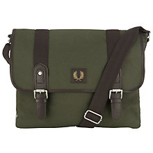 Buy Fred Perry Canvas Satchel Bag, Khaki Online at johnlewis.com