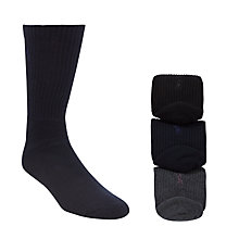 Buy Polo Ralph Lauren Cotton Rich Socks, Pack of 3, One Size, Black/Charcoal/Navy Online at johnlewis.com