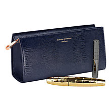 Buy Aspinal of London Small Leather Cosmetic Case, Navy Online at johnlewis.com