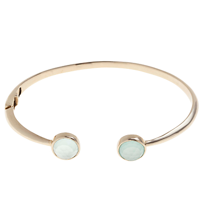 John Lewis Gemstones 18ct Gold Plated Hinged Cuff Bangle, Chalcedony