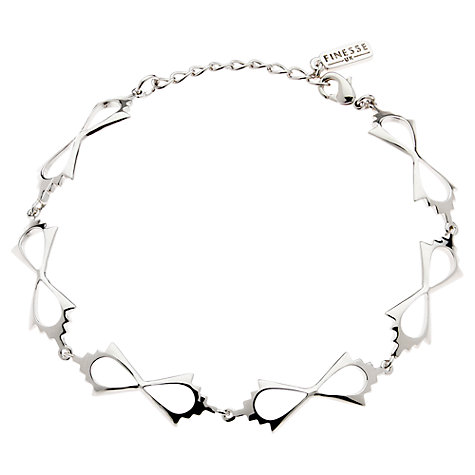 Buy Finesse Rhodium Plated Polished Curve Bracelet Online at johnlewis.com