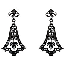 Buy Downton Abbey Collection Jet Plated Crystal Edwardian Fleur Drop Earrings Online at johnlewis.com
