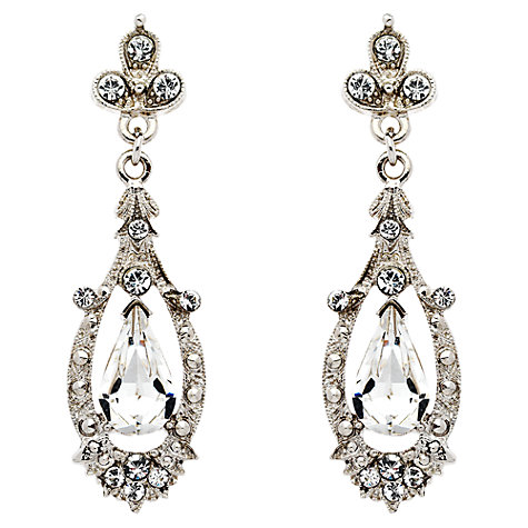 Buy Downton Abbey Collection Silver Plated Pave Crystal Edwardian Drop Earrings Online at johnlewis.com