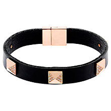 Buy Finesse Pyramid Swarovski Crystal Leather Bracelet, Rose Gold / Black Online at johnlewis.com