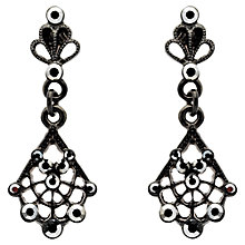 Buy Downton Abbey Collection Fan Filigree Jet Plated Drop Earrings Online at johnlewis.com