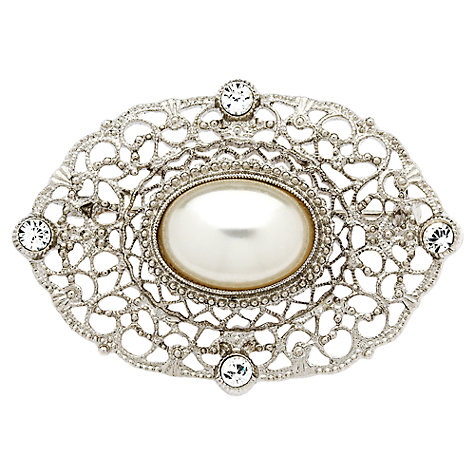 Buy Downton Abbey Collection Silver Plated Crystal Faux Pearl Belle Epoch Brooch Online at johnlewis.com
