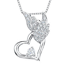 Buy Jools by Jenny Brown Sterling Silver Heart Pave Wing Pendant, Rhodium Online at johnlewis.com