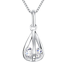 Buy Jools by Jenny Brown Sterling Silver Cubic Zirconia 4-Sided Pendant, Rhodium Online at johnlewis.com