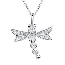 Buy Jools by Jenny Brown Sterling Silver Pave Dragonfly Pendant, Rhodium Online at johnlewis.com
