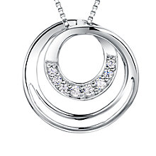 Buy Jools by Jenny Brown Sterling Silver Pave Infinity Circles Pendant, Rhodium Online at johnlewis.com