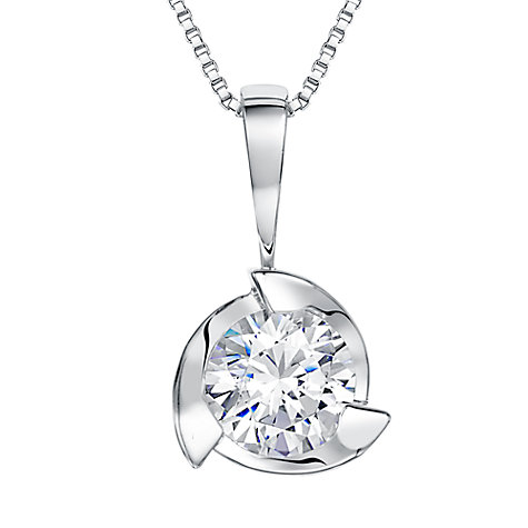 Buy Jools by Jenny Brown Sterling Silver Cubic Zirconia Triple Wave Pendant, Rhodium Online at johnlewis.com