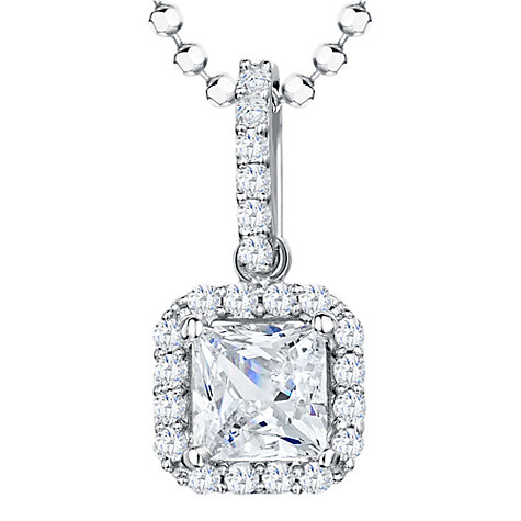 Buy Jools by Jenny Brown Sterling Silver Cubic Zirconia Square Surround Pendant, Rhodium Online at johnlewis.com