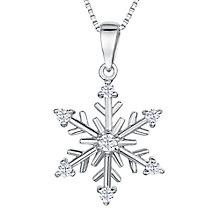Buy Jools by Jenny Brown Sterling Silver Cubic Zirconia Snowflake Pendant, Rhodium Online at johnlewis.com