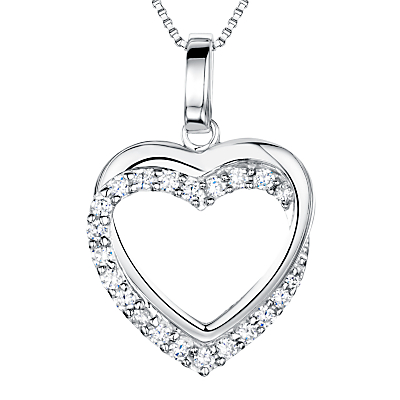 Jools by Jenny Brown Sterling Silver Tangled Pave Heart Pendant, Rhodium
