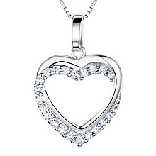 Buy Jools by Jenny Brown Sterling Silver Tangled Pave Heart Pendant, Rhodium Online at johnlewis.com