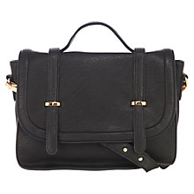 Buy Warehouse Metal Keepers Satchel Handbag, Black Online at johnlewis.com