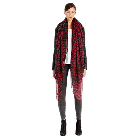 Buy Warehouse Two Colour Animal Scarf, Red Online at johnlewis.com
