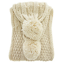 Buy Warehouse Single Pom Pom Scarf, Cream Online at johnlewis.com