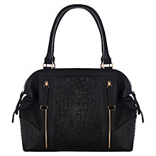 Buy Warehouse Zippy Faux Ostrich Bowling Handbag, Black Online at johnlewis.com
