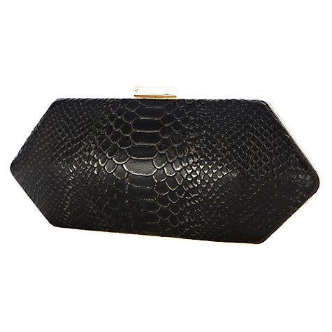 Buy Warehouse Hard Diamond Clutch Handbag, Black Online at johnlewis.com