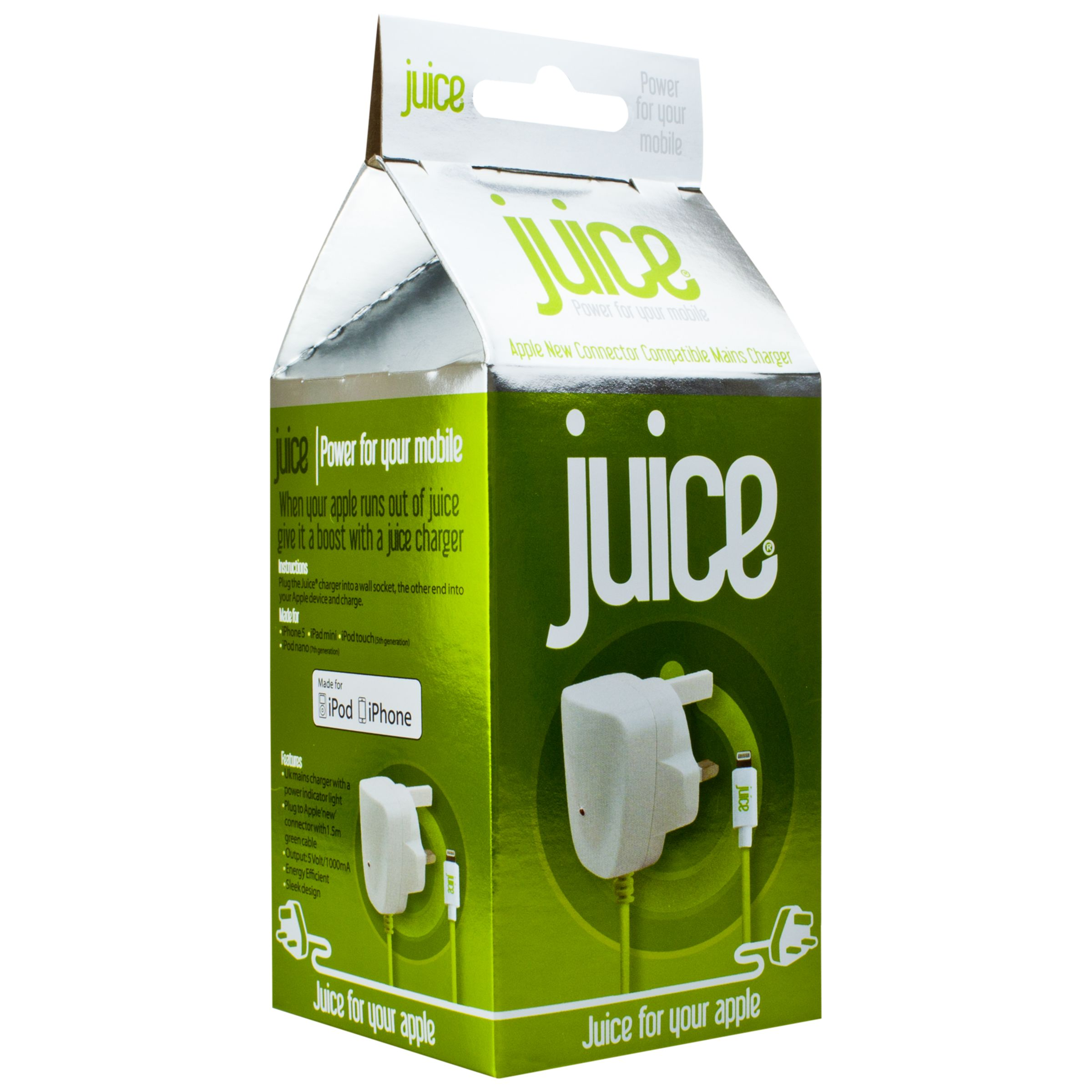 Juice Juice Lightning Mains Charger for Apple Lightning Devices