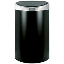 Buy Brabantia Touch Bin, Matt Black / Matt Fingerprint Proof  Steel Lid, 40L Online at johnlewis.com