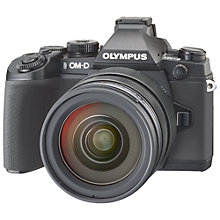 "Buy Olympus OM-D E-M1 Compact System Camera with 12-40mm Lens, HD 1080p, 16.3MP, Wi-Fi, EVF, 3"" LCD Screen with 16GB + 8GB Memory Card Online at johnlewis.com"