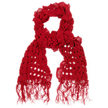 Buy Phase Eight Elasticated Ruffle Scarf, Red Online at johnlewis.com