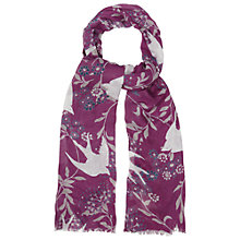 Buy White Stuff Swallow Print Scarf, Chinese Pink Online at johnlewis.com