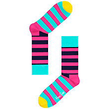 Buy Happy Socks Stripe Cotton Socks, One Size, Pink Online at johnlewis.com