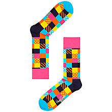 Buy Happy Socks Mini Square Patterned Socks, Pink/Multi Online at johnlewis.com