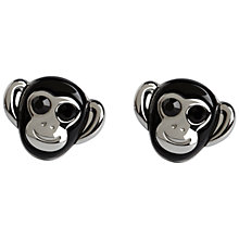 Buy Simon Carter Darwin Monkey Cufflinks, Silver/Black Online at johnlewis.com