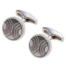 Buy Simon Carter Mother of Pearl Circle Cufflinks, Grey Online at johnlewis.com