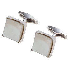 Buy Simon Carter Concave Square Mother of Pearl Cufflinks, White Online at johnlewis.com